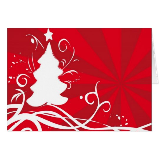 Cookie Cutter Christmas Tree on Red Background Card