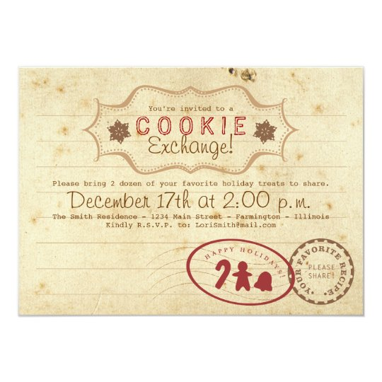 Cookie Exchange Recipe Card Invitation