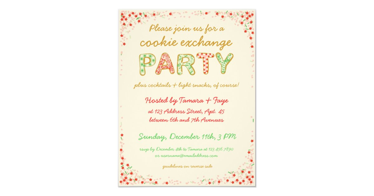 Cookie Exchange Swap Party Invite w/ Instructions | Zazzle.com