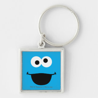 Cookie Face Art Silver-Colored Square Keychain
