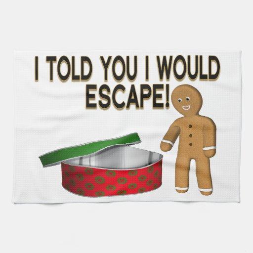 Cookie Gingerbread Man Escape Towels
