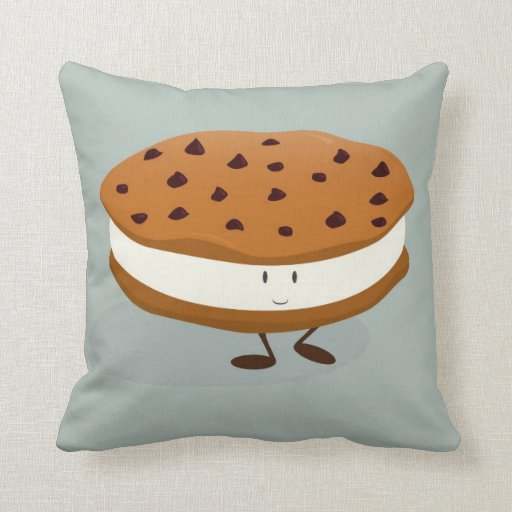 Cookie Ice Cream Sandwich Character Throw Pillow Zazzle
