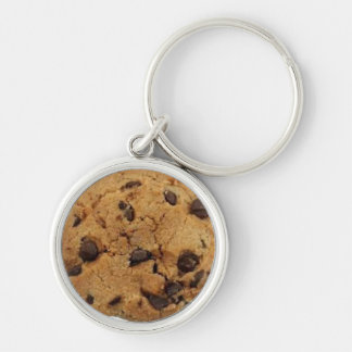 Cookie Silver-Colored Round Keychain