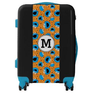 Cookie Monster and Cookies Blue Pattern | Monogram Luggage