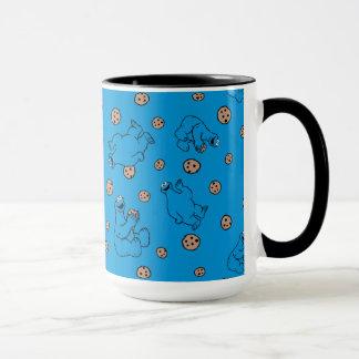 Cookie Monster and Cookies Blue Pattern Mug