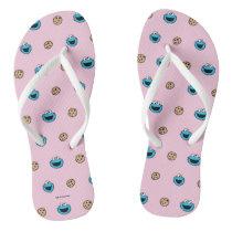 Cookie Monster and Cookies Pink Pattern Flip Flops
