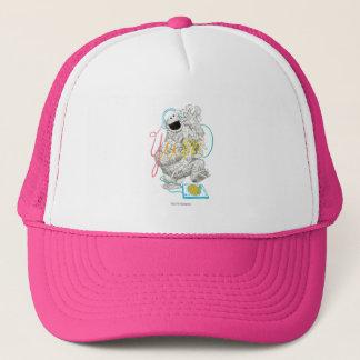 Cookie Monster B&W Sketch Drawing Trucker Hat