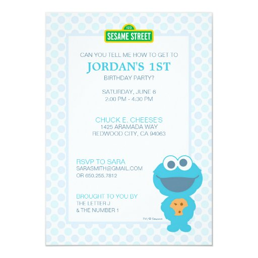 Cookie Monster Baby Birthday 5x7 Paper Invitation Card