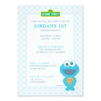Cookie Monster Baby Birthday Invitation
