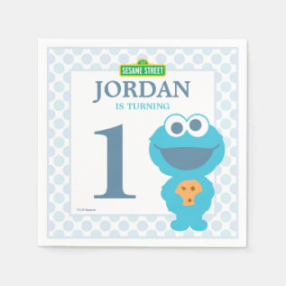 Cookie Monster Baby Birthday Paper Napkins at Zazzle