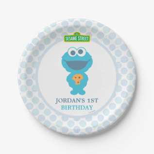 Cookie Monster Baby Birthday Paper Plate at Zazzle