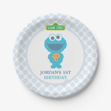 birthday Cookie Monster Baby Birthday Paper Plate