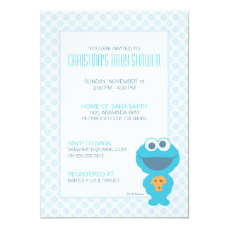 """Cookie Monster Baby Shower Invite 5"""" X 7"""" Invitation Card"""