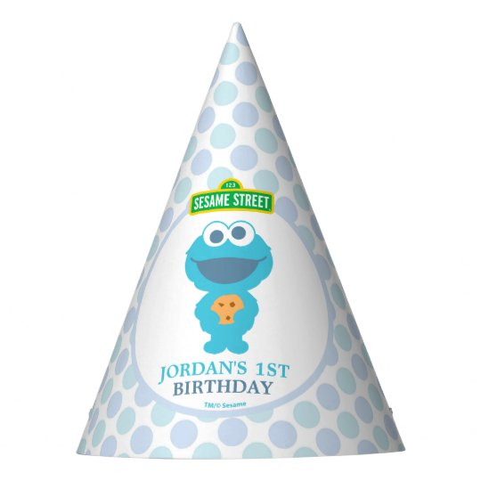 Cookie Monster Baby S First Birthday Party Hat Zazzle Com
