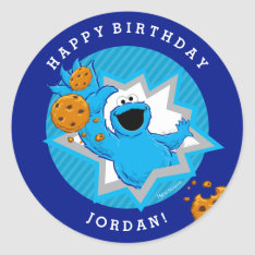 Cookie Monster Birthday Classic Round Sticker at Zazzle