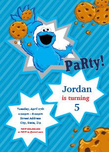 Cookie Monster Birthday Invitation