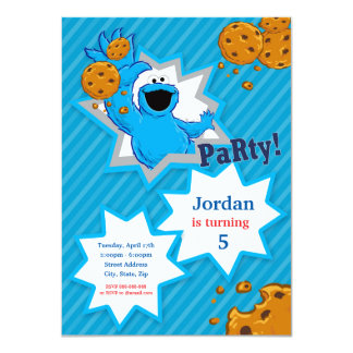 Cookie Monster Birthday 4.5x6.25 Paper Invitation Card