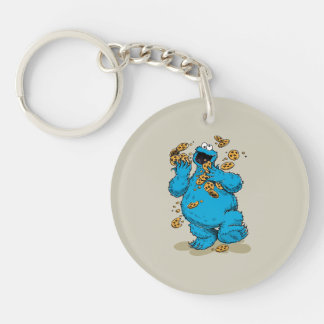 Cookie Monster Crazy Cookies Double-Sided Round Acrylic Keychain