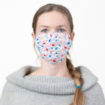 Cookie Monster & Elmo | Red & Blue Pattern 2 Adult Cloth Face Mask