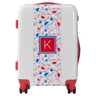 Cookie Monster & Elmo | Red & Blue Pattern Luggage