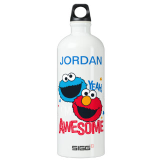 Cookie Monster & Elmo | Yeah, I'm Awesome Aluminum Water Bottle