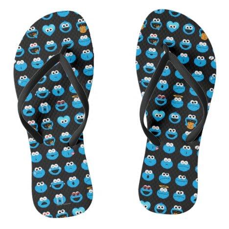 Cookie Monster Emoji Pattern Flip Flops