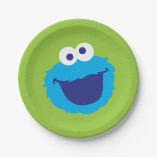 Cookie Monster Face Paper Plate  sc 1 st  Zazzle : cookie monster paper plates - pezcame.com