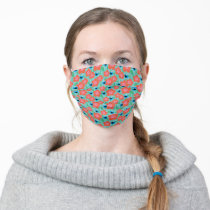 Cookie Monster Floral Pattern Adult Cloth Face Mask