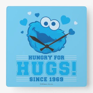 Cookie Monster Hugs Square Wall Clock