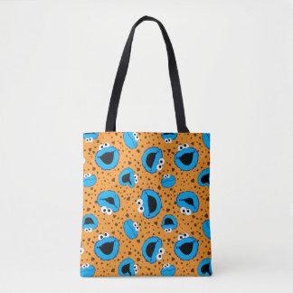 Cookie Monster on Cookie Pattern Tote Bag