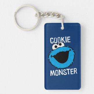 Cookie Monster Pattern Face Double-Sided Rectangular Acrylic Keychain