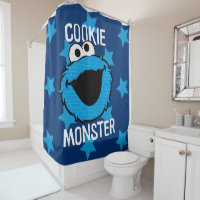 Cookie Monster Pattern Face Shower Curtain