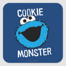 Cookie Monster Pattern Face Square Sticker