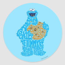 Cookie Monster Pattern Fill Classic Round Sticker