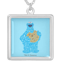 Cookie Monster Pattern Fill Silver Plated Necklace