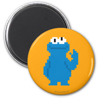 Cookie Monster Pixel Art 2 Inch Round Magnet