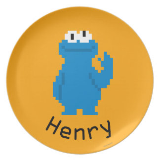 Cookie Monster Pixel Art | Add Your Name Dinner Plate