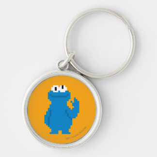 Cookie Monster Pixel Art Silver-Colored Round Keychain
