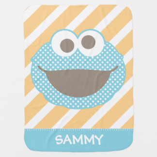 Cookie Monster Polka Dot Face | Add Your Name Swaddle Blanket