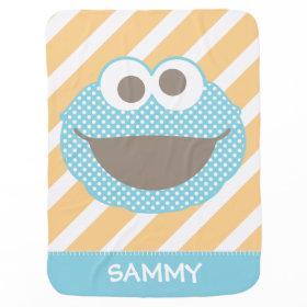 Cookie Monster Polka Dot Face Stroller Blanket
