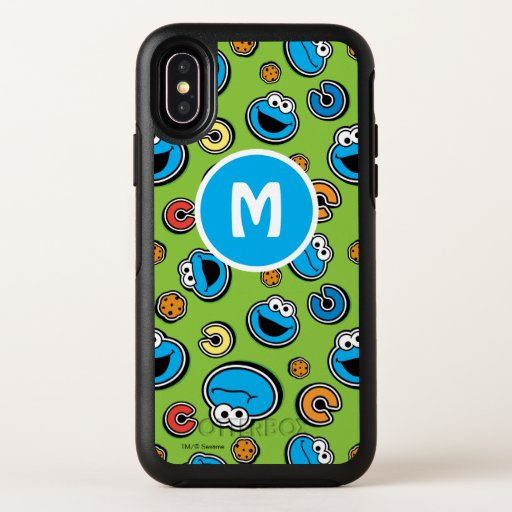 Cookie Monster Sticker Pattern OtterBox Symmetry iPhone X Case