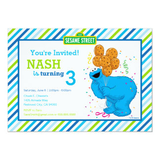Cookie Monster Striped Birthday 5x7 Paper Invitation Card
