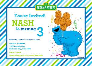 Cookie monster invitations zazzle cookie monster striped birthday invitation filmwisefo