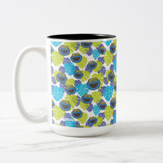 Cookie Monster | Tropical Pattern Two-Tone Coffee Mug