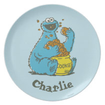 Cookie Monster Vintage | Add Your Name Melamine Plate