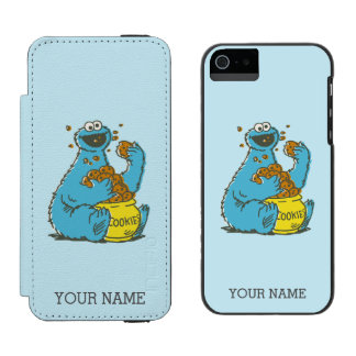 Cookie Monster Vintage | Add Your Name Wallet Case For iPhone SE/5/5s