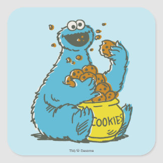 Cookie Monster Vintage Square Sticker