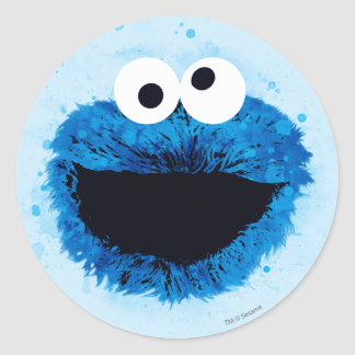 Cookie Monster   Watercolor Trend Classic Round Sticker