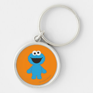 Cookie Monster Wool Style Silver-Colored Round Keychain