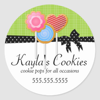 Cookie Pops Green Bakery Classic Round Sticker